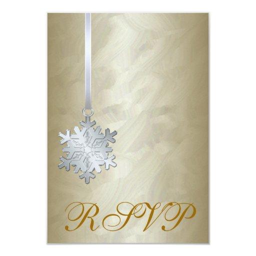 Invitación de RSVP del copo de nieve de la plata Invitación 8,9 X 12,7 Cm