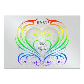 Invitación de RSVP del corazón del arco iris del Invitación 8,9 X 12,7 Cm