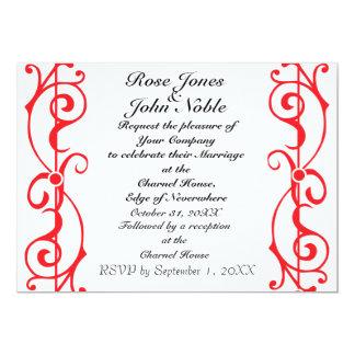 Invitación (de rubíes) de marfil del boda de la invitación 12,7 x 17,8 cm