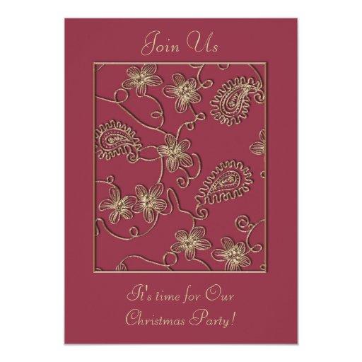 Invitación de rubíes del navidad del oro
