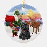 Invitación de Santas - cocker spaniel negro Ornamento Para Reyes Magos