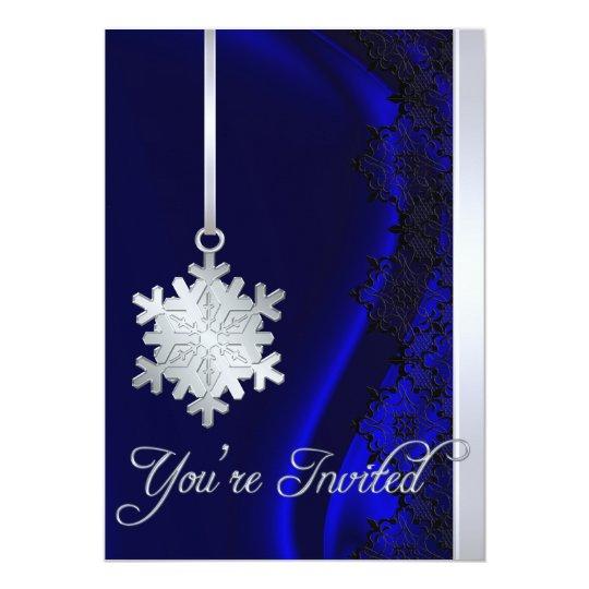 Invitación de seda azul de la decoración de plata