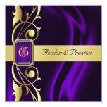 Invitación de seda púrpura de la joya de la voluta
