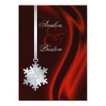 Invitación de seda roja del copo de nieve de plata invitación 12,7 x 17,8 cm