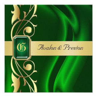 Invitación de seda verde de la esmeralda de la vol
