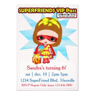 Invitación de Superfriend VIP de los chicas Invitación 12,7 X 17,8 Cm