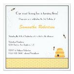 Invitación de zumbido del cumpleaños de las abejas invitación 13,3 cm x 13,3cm