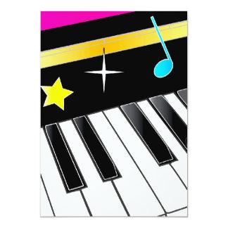 """Invitación: Decreto del piano con llaves del piano Invitación 5"""" X 7"""""""