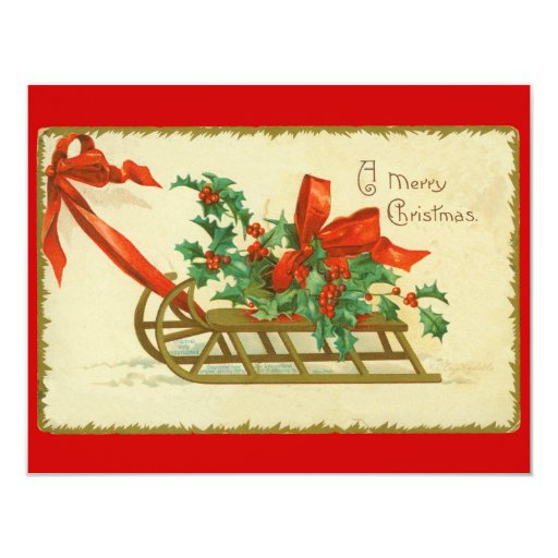Invitación del acebo del trineo del navidad del invitación 10,8 x 13,9 cm