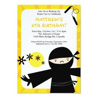 Invitación del amarillo del poder de Ninja Invitación 12,7 X 17,8 Cm