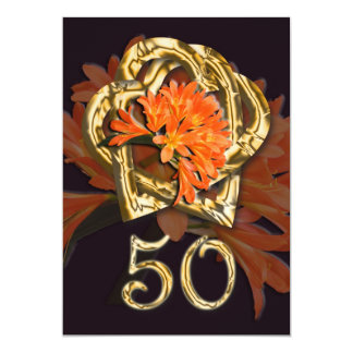 Invitación del aniversario de boda de oro invitación 12,7 x 17,8 cm