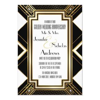 Invitación del aniversario de boda de oro del art