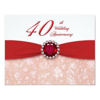 Invitación del aniversario de boda del damasco
