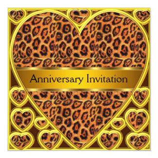 Invitación del aniversario de boda del leopardo