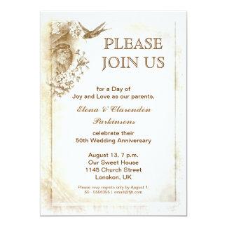 invitación del aniversario del amor de los pájaros invitación 12,7 x 17,8 cm