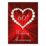 Invitación del aniversario del diamante del corazó