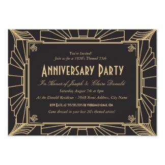 Invitación del aniversario del estilo del art déco invitación 12,7 x 17,8 cm