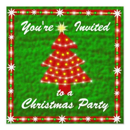 Invitación del árbol de navidad invitación 13,3 cm x 13,3cm