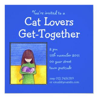 Invitación del azul de la abrazo del gato invitación 13,3 cm x 13,3cm