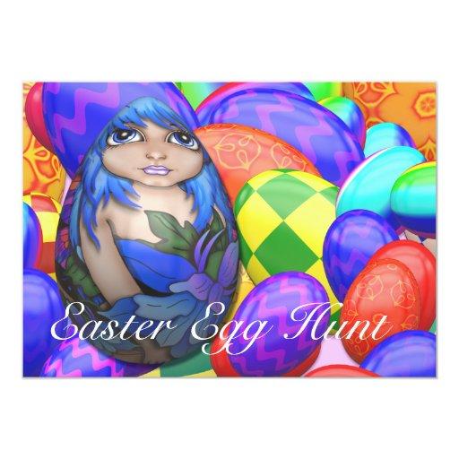 Invitación del azul de la caza del huevo de Pascua
