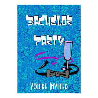 Invitación del azul del fiesta de macho del solter