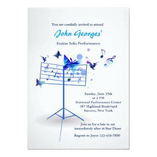 Invitación del azul del soporte de música invitación 12,7 x 17,8 cm
