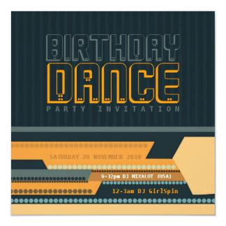 Invitación del baile del cumpleaños de Techno del Invitación 13,3 Cm X 13,3cm