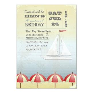 Invitación del barco de vela del vintage invitación 12,7 x 17,8 cm