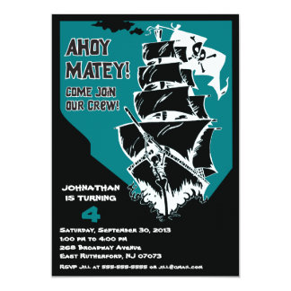 Invitación del barco pirata - azul