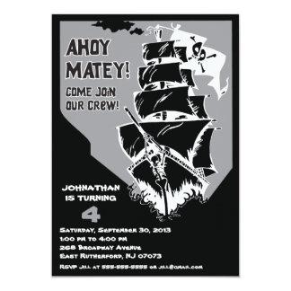Invitación del barco pirata - gris