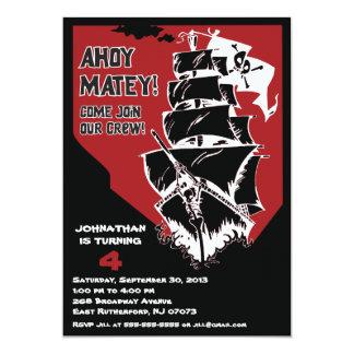 Invitación del barco pirata - rojo