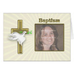 Invitación del bautismo de la foto con una cruz de tarjeta de felicitación