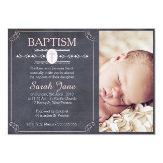 Invitación del bautismo de la foto de la pizarra invitación 11,4 x 15,8 cm