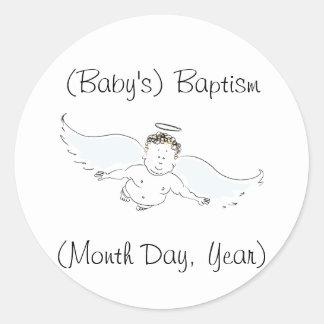 Invitación del bautismo del ángel del bebé del pegatina redonda