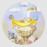 Invitación del bautismo del bautizo del bebé pegatina redonda