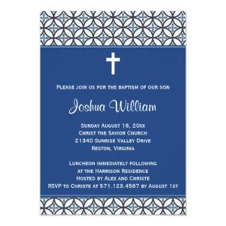 Invitación del bautizo del bautismo del azul real invitación 12,7 x 17,8 cm