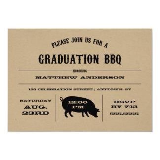 Invitación del Bbq de la graduación del vintage