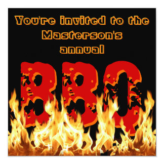Invitación del Bbq el flamear