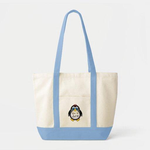 Invitación del bebé de junio del pingüino bolsa