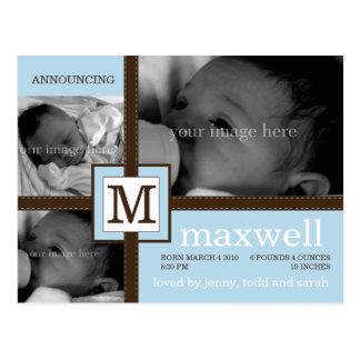 Invitación del bebé de la cinta de Brown Tarjetas Postales
