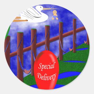 Invitación del bebé de la entrega especial de la pegatina redonda