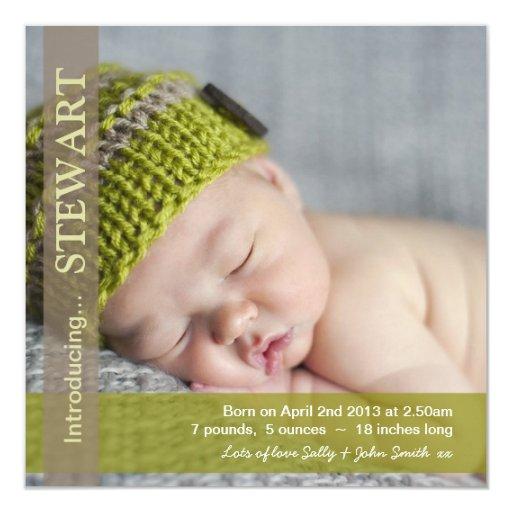 Invitación del bebé de la plantilla de la foto - invitación 13,3 cm x 13,3cm