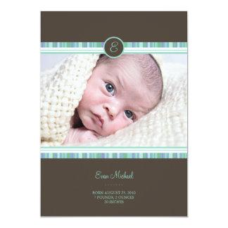 Invitación del bebé de la raya del trullo invitación 12,7 x 17,8 cm