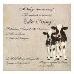 Invitación del bebé de las vacas del ónix y de la