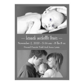 Invitación del bebé del dúo de la foto nueva gris