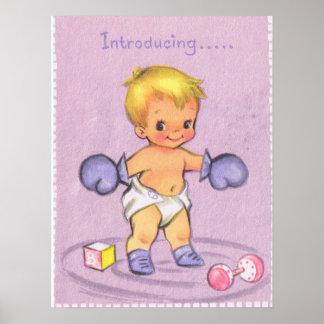 Invitación del bebé del vintage póster