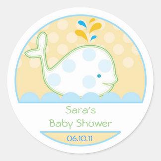 Invitación del bebé o pegatina del favor - ballena