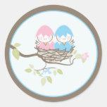 Invitación del bebé o pegatina del favor - pájaros