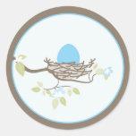 Invitación del bebé/pegatina del favor - huevo azu