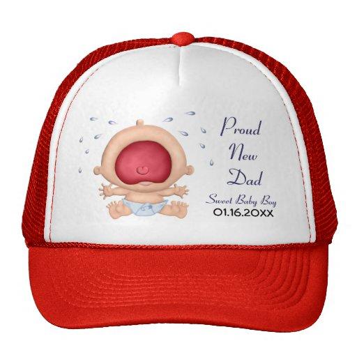Invitación del bebé que grita para el nuevo papá gorros bordados